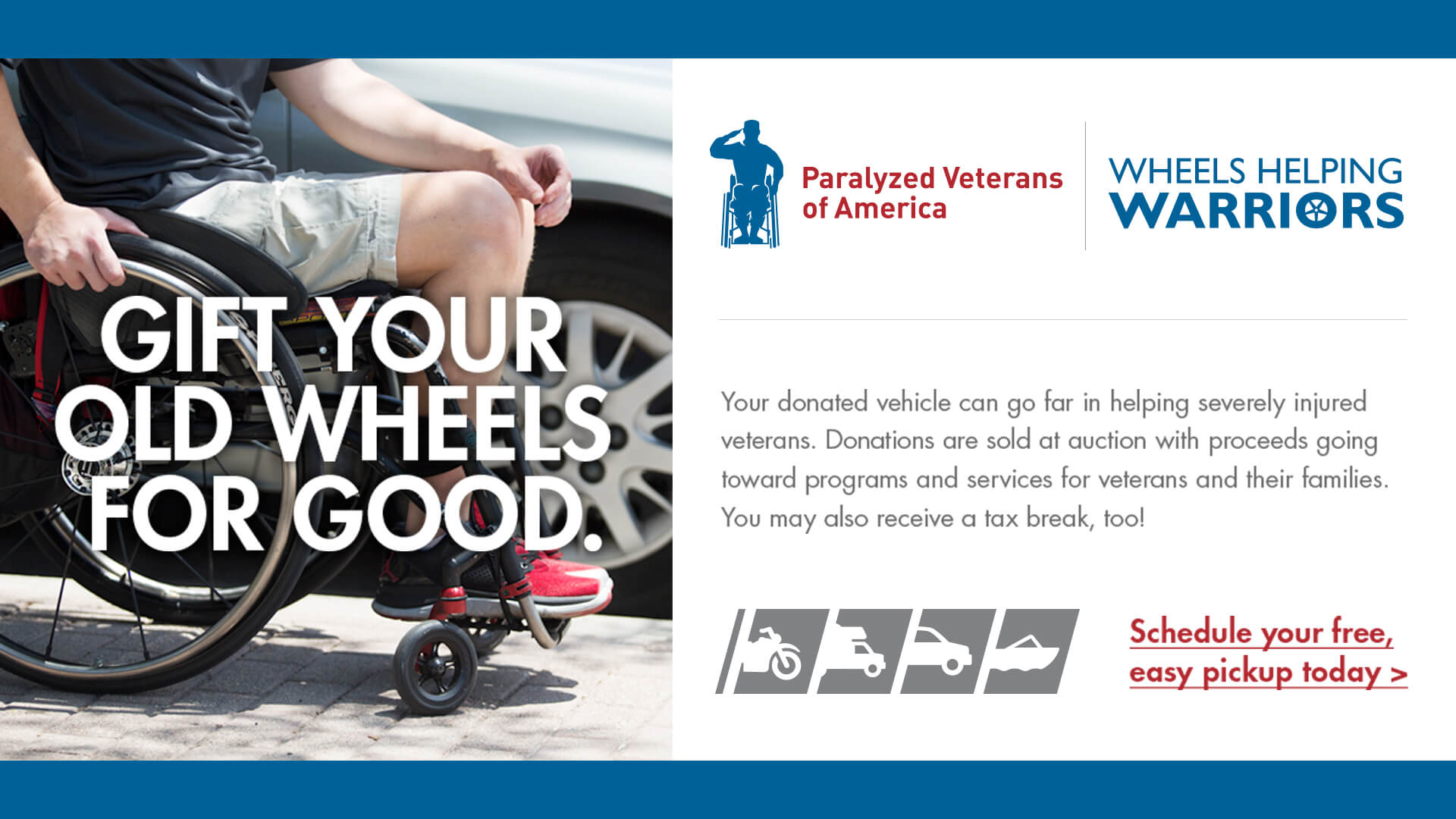 Wheels Helping Warriors Vehicle Donation Program. Click the image below for more information.