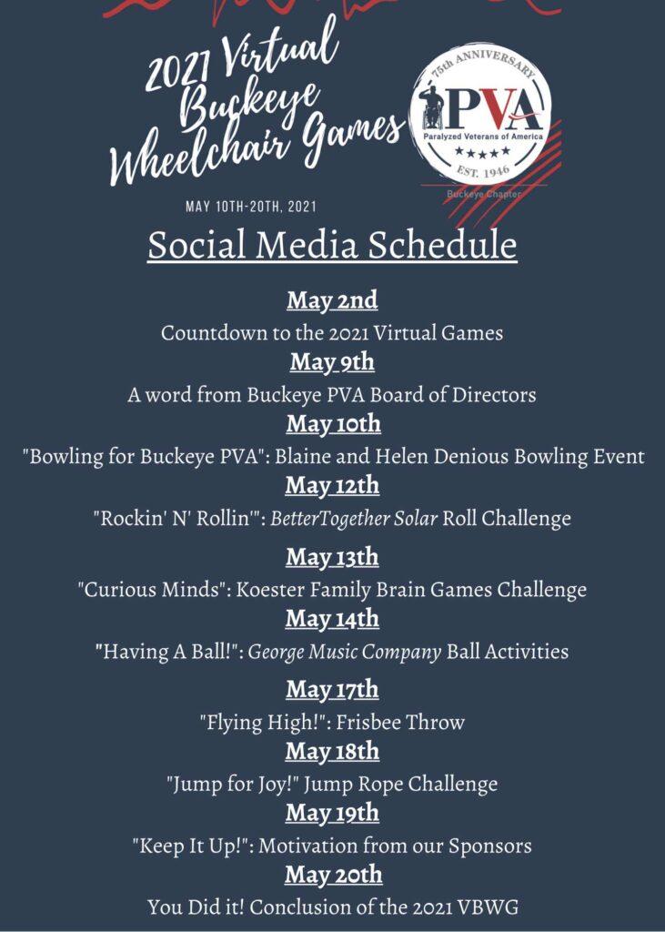 Schedule for Buckeye PVA's Virtual Buckeye Wheelchair Games