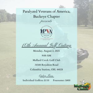 Paralyzed Veterans of America, Buckeye Chapter presents the 10th Annual Golf Outing invitation